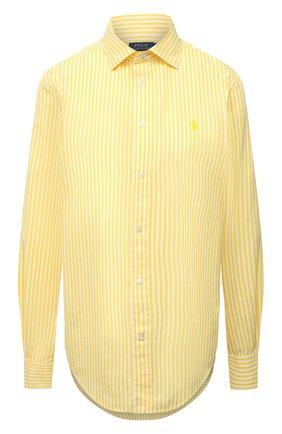 Женская хлопковая рубашка POLO RALPH LAUREN желтого цвета, арт. 211784161 | Фото 1