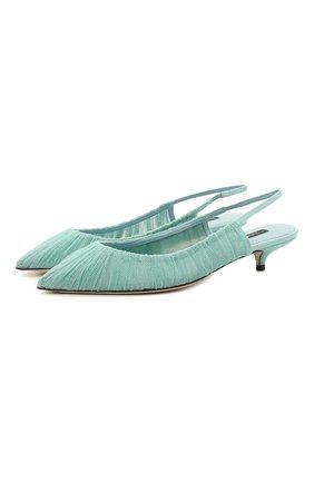 Женские текстильные туфли cardinale DOLCE & GABBANA бирюзового цвета, арт. CG0428/AW100   Фото 1