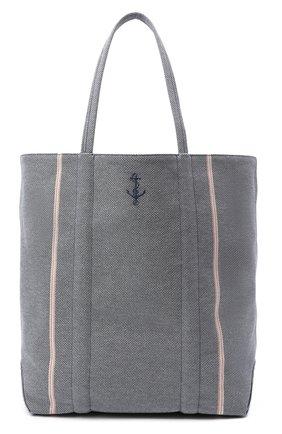 Женский сумка-шопер GIORGIO ARMANI синего цвета, арт. Y1D164/YGJ0A | Фото 1 (Размер: large; Материал: Текстиль; Ошибки технического описания: Нет ширины; Сумки-технические: Сумки-шопперы)