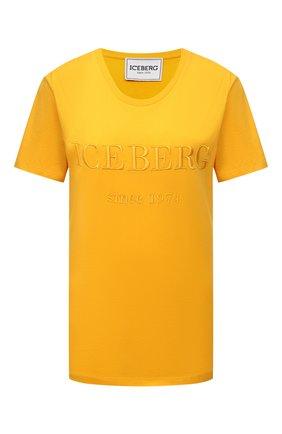 Женская хлопковая футболка ICEBERG желтого цвета, арт. 21E I2P0/F09A/6301 | Фото 1