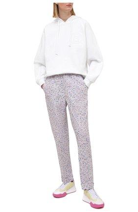 Женские хлопковые брюки ERMANNO FIRENZE сиреневого цвета, арт. D38ET PL01PFF | Фото 2