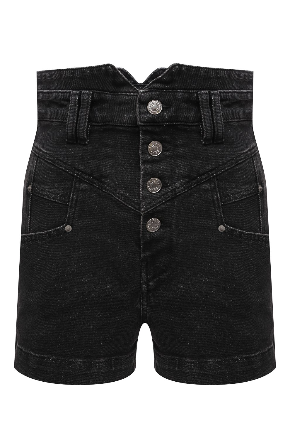Женские джинсовые шорты ISABEL MARANT темно-серого цвета, арт. SH0394-21E019I/DIR0YSR   Фото 1