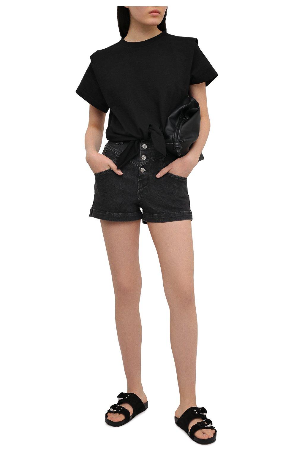 Женские джинсовые шорты ISABEL MARANT темно-серого цвета, арт. SH0394-21E019I/DIR0YSR   Фото 2