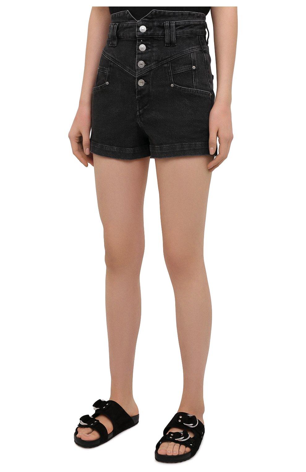 Женские джинсовые шорты ISABEL MARANT темно-серого цвета, арт. SH0394-21E019I/DIR0YSR   Фото 3