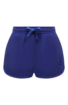 Женские хлопковые шорты ISABEL MARANT синего цвета, арт. SH0404-21E006W/MIFIKIA | Фото 1 (Материал внешний: Хлопок; Длина Ж (юбки, платья, шорты): Мини; Женское Кросс-КТ: Шорты-одежда; Стили: Спорт-шик)