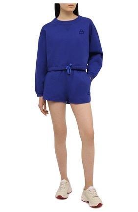Женские хлопковые шорты ISABEL MARANT синего цвета, арт. SH0404-21E006W/MIFIKIA | Фото 2 (Материал внешний: Хлопок; Длина Ж (юбки, платья, шорты): Мини; Женское Кросс-КТ: Шорты-одежда; Стили: Спорт-шик)