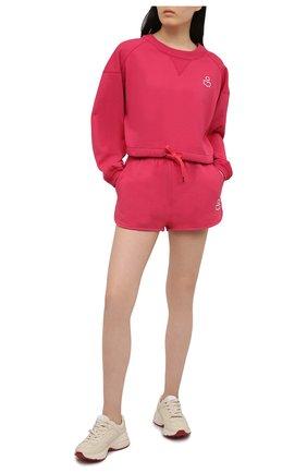 Женские хлопковые шорты ISABEL MARANT фуксия цвета, арт. SH0404-21E006W/MIFIKIA | Фото 2 (Длина Ж (юбки, платья, шорты): Мини; Материал внешний: Хлопок; Женское Кросс-КТ: Шорты-одежда; Стили: Спорт-шик)