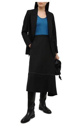 Женский топ из смеси шелка и хлопка LORO PIANA синего цвета, арт. FAI5014 | Фото 2