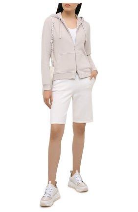 Женские шорты из шелка и хлопка LORO PIANA белого цвета, арт. FAI1072 | Фото 2 (Материал внешний: Хлопок, Шелк; Длина Ж (юбки, платья, шорты): Мини; Женское Кросс-КТ: Шорты-одежда; Стили: Спорт-шик)