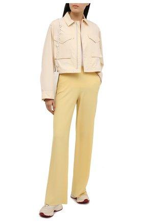 Женские кашемировые брюки LORO PIANA желтого цвета, арт. FAL5052   Фото 2 (Материал внешний: Шерсть, Кашемир; Длина (брюки, джинсы): Удлиненные; Силуэт Ж (брюки и джинсы): Прямые; Стили: Спорт-шик; Женское Кросс-КТ: Брюки-одежда)