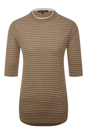Женский пуловер из кашемира и шелка LORO PIANA коричневого цвета, арт. FAL6249   Фото 1