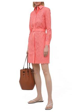 Женское хлопковое платье LORO PIANA кораллового цвета, арт. FAL6316 | Фото 2