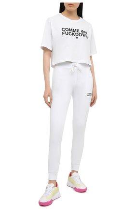 Женская хлопковая футболка COMME DES FUCKDOWN белого цвета, арт. CDFD1342 | Фото 2