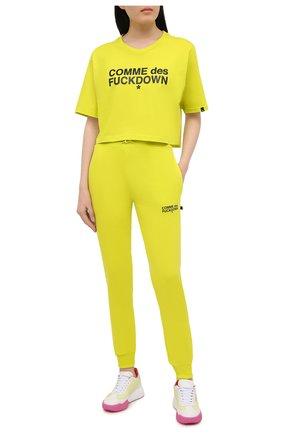 Женская хлопковая футболка COMME DES FUCKDOWN зеленого цвета, арт. CDFD1342 | Фото 2