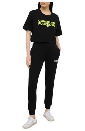 Женская хлопковая футболка COMME DES FUCKDOWN черного цвета, арт. CDFD1342 | Фото 2