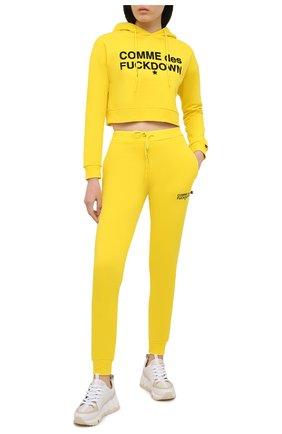 Женские хлопковые джоггеры COMME DES FUCKDOWN желтого цвета, арт. CDFD1353 | Фото 2