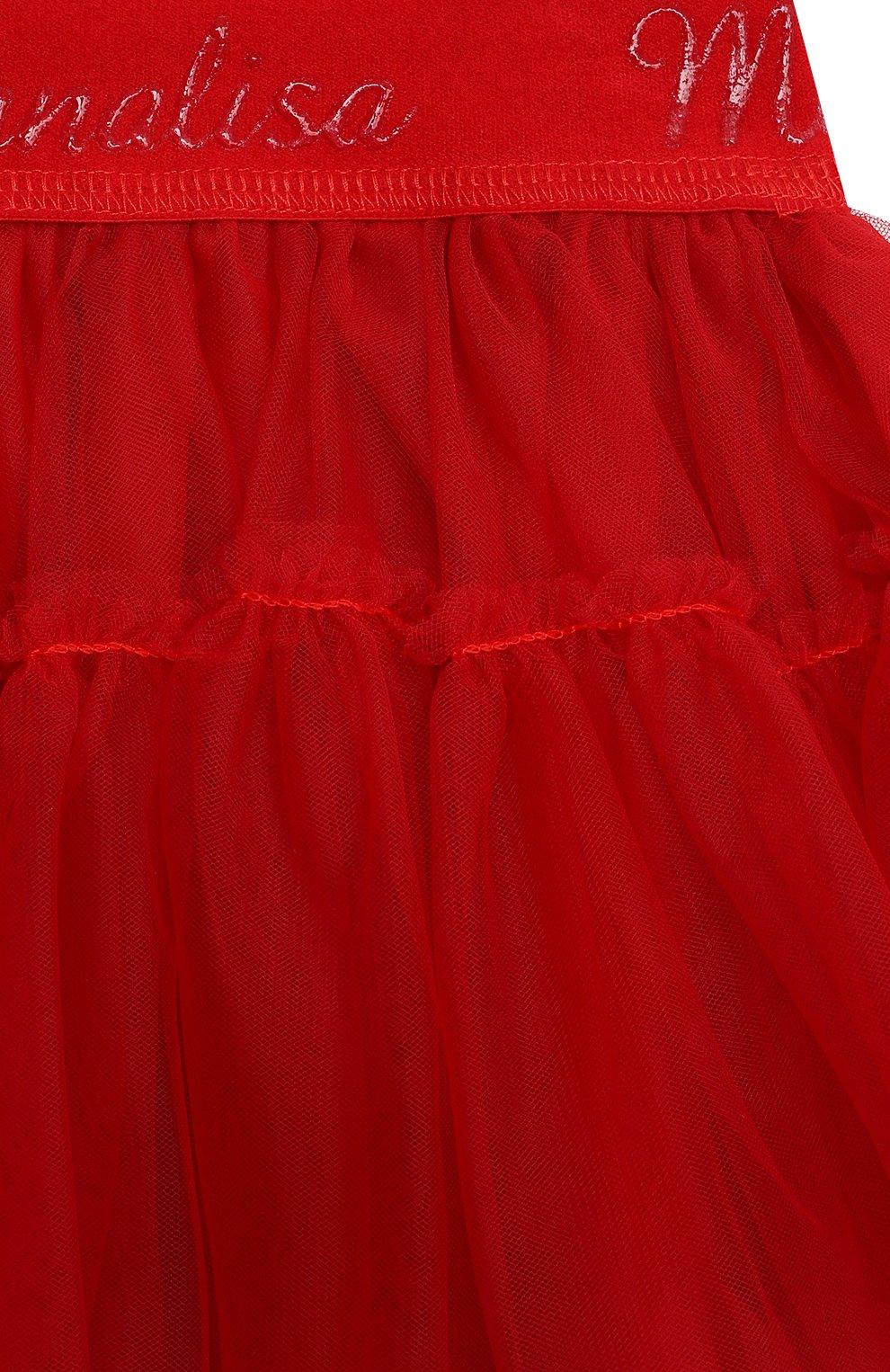 Детская юбка MONNALISA красного цвета, арт. 377GON | Фото 3