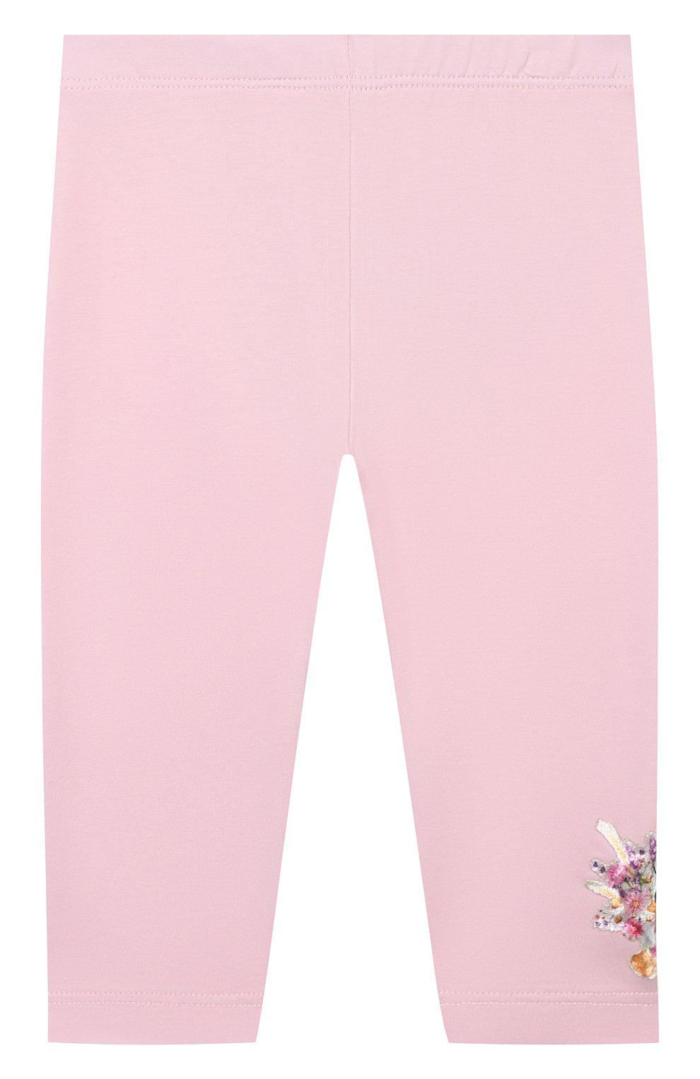 Детские хлопковые леггинсы MONNALISA розового цвета, арт. 317418AA   Фото 1