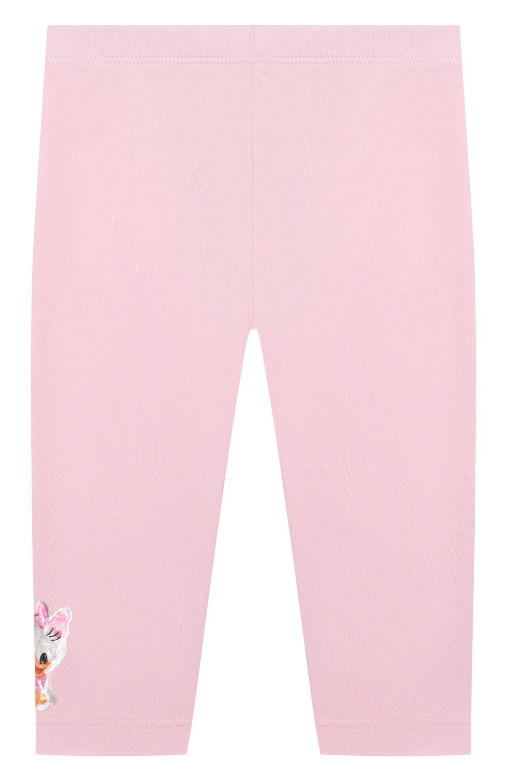 Детские хлопковые леггинсы MONNALISA розового цвета, арт. 317418AA   Фото 2