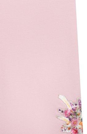 Детские хлопковые леггинсы MONNALISA розового цвета, арт. 317418AA   Фото 3