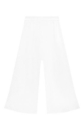 Детские хлопковые брюки MONNALISA белого цвета, арт. 177405 | Фото 1