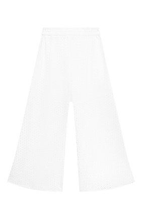 Детские хлопковые брюки MONNALISA белого цвета, арт. 177405 | Фото 2