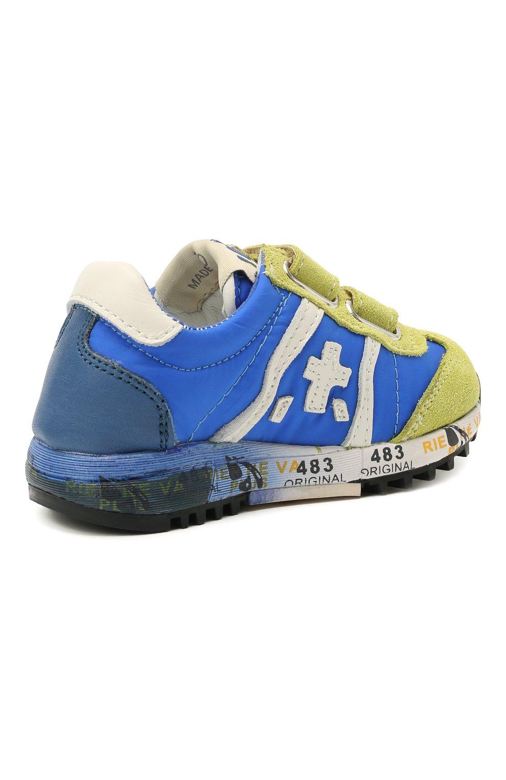 Детские кроссовки PREMIATA WILL BE синего цвета, арт. LUCY V/12-20013/T0D | Фото 3 (Материал внешний: Текстиль; Материал внутренний: Натуральная кожа)