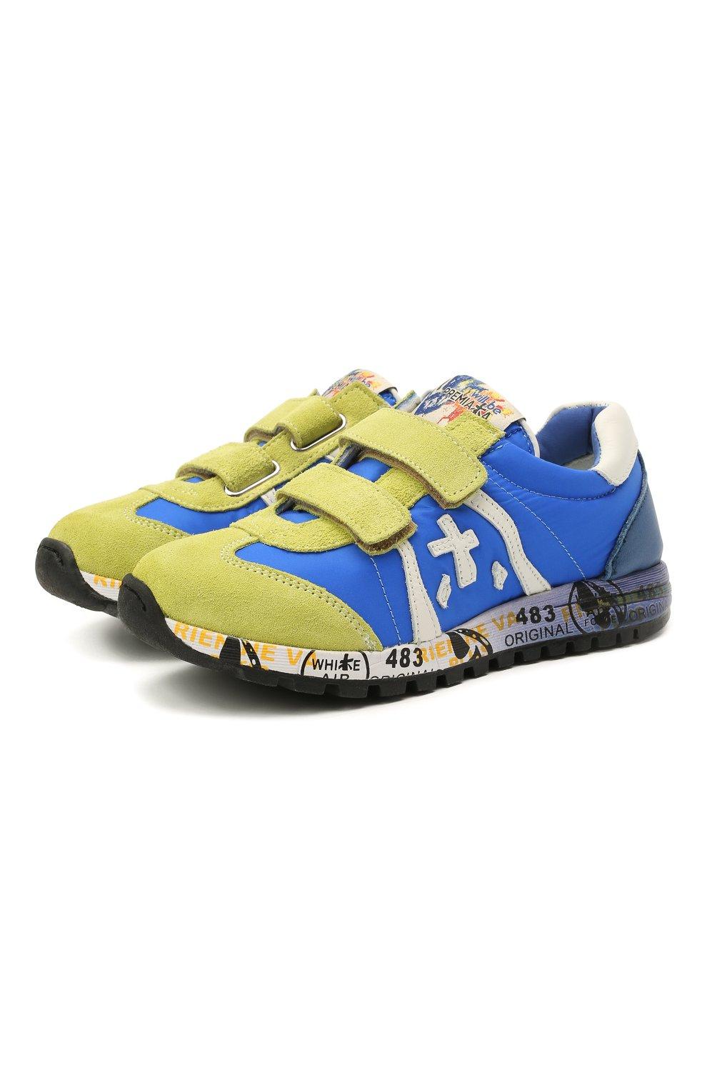 Детские кроссовки PREMIATA WILL BE синего цвета, арт. LUCY V/12-20013/CHILD | Фото 1 (Материал внешний: Текстиль; Материал внутренний: Натуральная кожа; Кросс-КТ: велькро)
