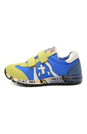 Детские кроссовки PREMIATA WILL BE синего цвета, арт. LUCY V/12-20013/CHILD | Фото 2 (Материал внешний: Текстиль; Материал внутренний: Натуральная кожа; Кросс-КТ: велькро)