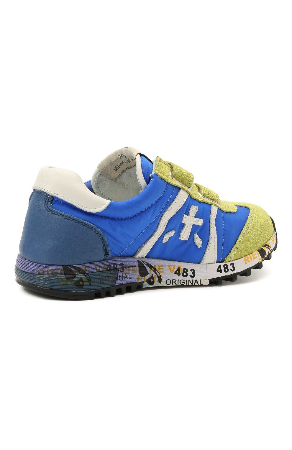 Детские кроссовки PREMIATA WILL BE синего цвета, арт. LUCY V/12-20013/CHILD | Фото 3 (Материал внешний: Текстиль; Материал внутренний: Натуральная кожа; Кросс-КТ: велькро)