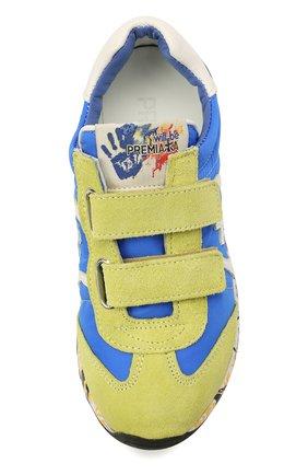 Детские кроссовки PREMIATA WILL BE синего цвета, арт. LUCY V/12-20013/CHILD | Фото 4 (Материал внешний: Текстиль; Материал внутренний: Натуральная кожа; Кросс-КТ: велькро)