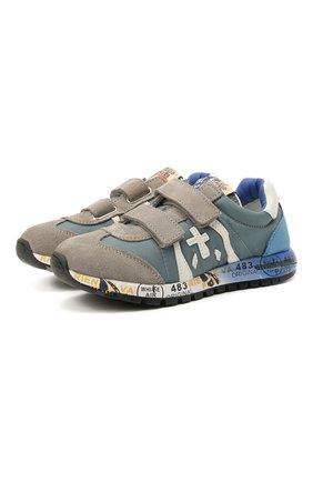 Детские кроссовки PREMIATA WILL BE синего цвета, арт. LUCY V/12-20313/CHILD | Фото 1 (Материал внутренний: Натуральная кожа; Кросс-КТ: велькро; Материал внешний: Текстиль)