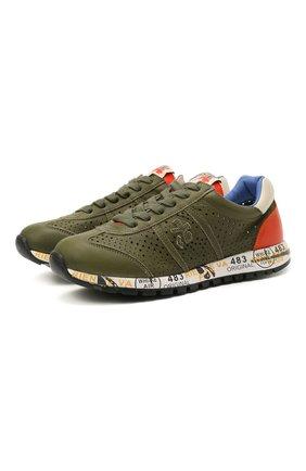 Детские кожаные кроссовки PREMIATA WILL BE хаки цвета, арт. LUCY/12-11390/JUN | Фото 1 (Материал внутренний: Натуральная кожа)