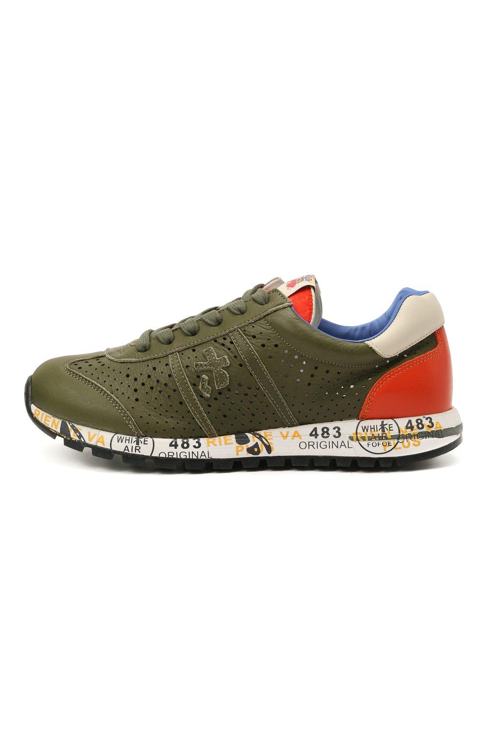 Детские кожаные кроссовки PREMIATA WILL BE хаки цвета, арт. LUCY/12-11390/JUN | Фото 2 (Материал внутренний: Натуральная кожа)