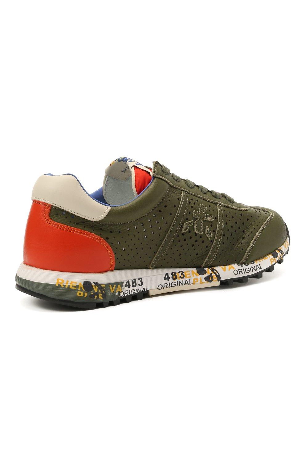 Детские кожаные кроссовки PREMIATA WILL BE хаки цвета, арт. LUCY/12-11390/JUN | Фото 3 (Материал внутренний: Натуральная кожа)