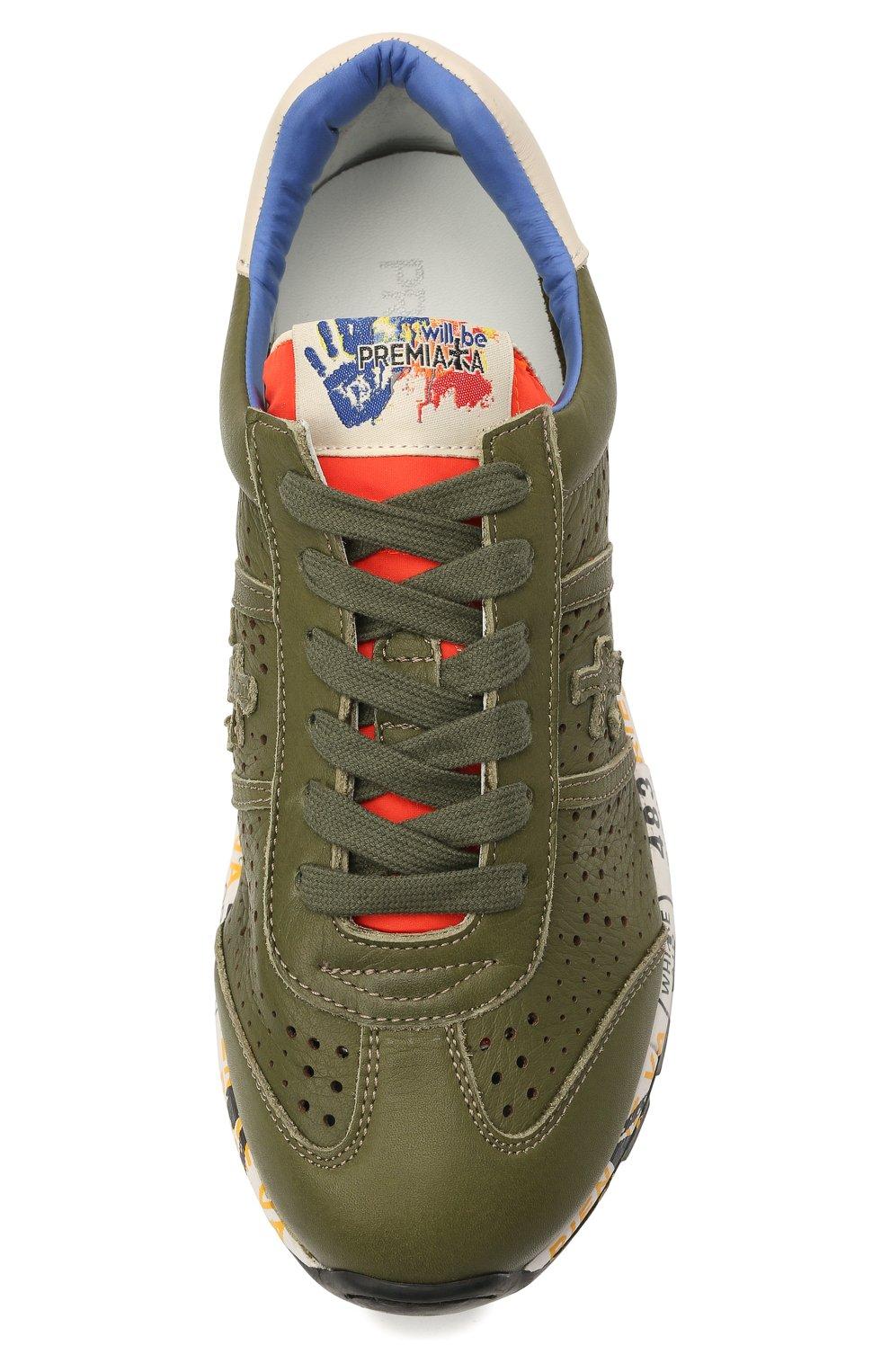 Детские кожаные кроссовки PREMIATA WILL BE хаки цвета, арт. LUCY/12-11390/JUN | Фото 4 (Материал внутренний: Натуральная кожа)
