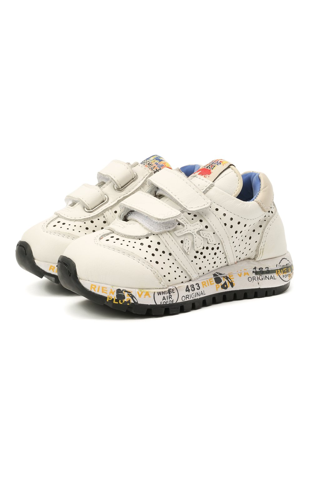 Детские кожаные кроссовки PREMIATA WILL BE белого цвета, арт. LUCY V/12-21217/T0D | Фото 1 (Материал внутренний: Натуральная кожа)