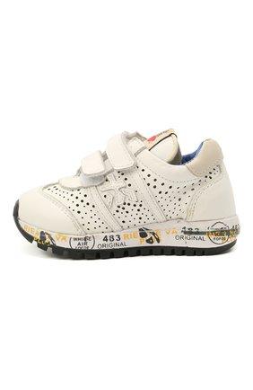 Детские кожаные кроссовки PREMIATA WILL BE белого цвета, арт. LUCY V/12-21217/T0D | Фото 2 (Материал внутренний: Натуральная кожа)