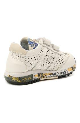 Детские кожаные кроссовки PREMIATA WILL BE белого цвета, арт. LUCY V/12-21217/T0D | Фото 3 (Материал внутренний: Натуральная кожа)