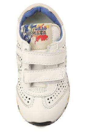 Детские кожаные кроссовки PREMIATA WILL BE белого цвета, арт. LUCY V/12-21217/T0D | Фото 4 (Материал внутренний: Натуральная кожа)