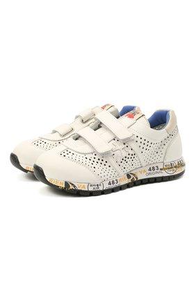 Детские кожаные кроссовки PREMIATA WILL BE белого цвета, арт. LUCY V/12-21217/CHILD | Фото 1 (Материал внутренний: Натуральная кожа; Кросс-КТ: велькро)