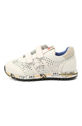 Детские кожаные кроссовки PREMIATA WILL BE белого цвета, арт. LUCY V/12-21217/CHILD | Фото 2 (Материал внутренний: Натуральная кожа; Кросс-КТ: велькро)
