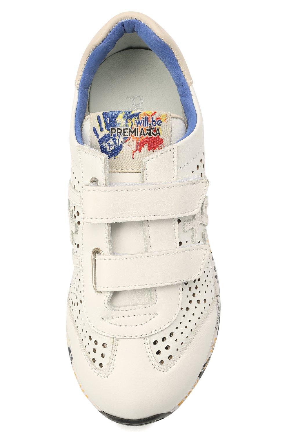 Детские кожаные кроссовки PREMIATA WILL BE белого цвета, арт. LUCY V/12-21217/CHILD | Фото 4 (Материал внутренний: Натуральная кожа; Кросс-КТ: велькро)