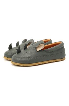 Детские кожаные слипоны DONSJE AMSTERDAM серого цвета, арт. 2013003-CL023/23-28   Фото 1