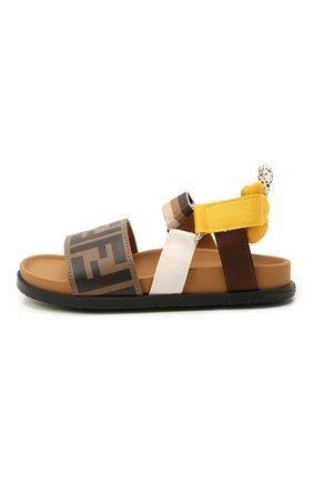 Детские кожаные сандалии FENDI коричневого цвета, арт. JMR340/AEGK/27-31 | Фото 2