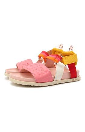 Детские кожаные босоножки FENDI розового цвета, арт. JMR340/AEGS/32-39 | Фото 1