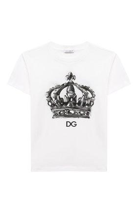 Детская хлопковая футболка DOLCE & GABBANA белого цвета, арт. L4JTBL/G7XPA/8-14 | Фото 1