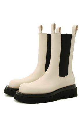 Женские кожаные ботинки bv lug BOTTEGA VENETA кремвого цвета, арт. 592045/VIFH0 | Фото 1