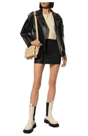 Женские кожаные ботинки bv lug BOTTEGA VENETA кремвого цвета, арт. 592045/VIFH0 | Фото 2