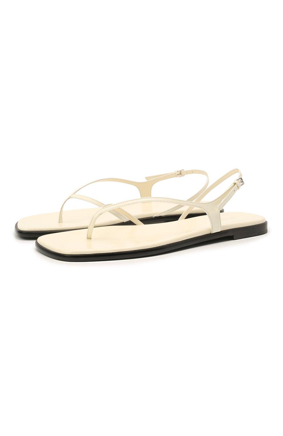 Женские кожаные сандалии THE ROW белого цвета, арт. F1197-L35   Фото 1 (Каблук высота: Низкий; Материал внутренний: Натуральная кожа; Подошва: Плоская)